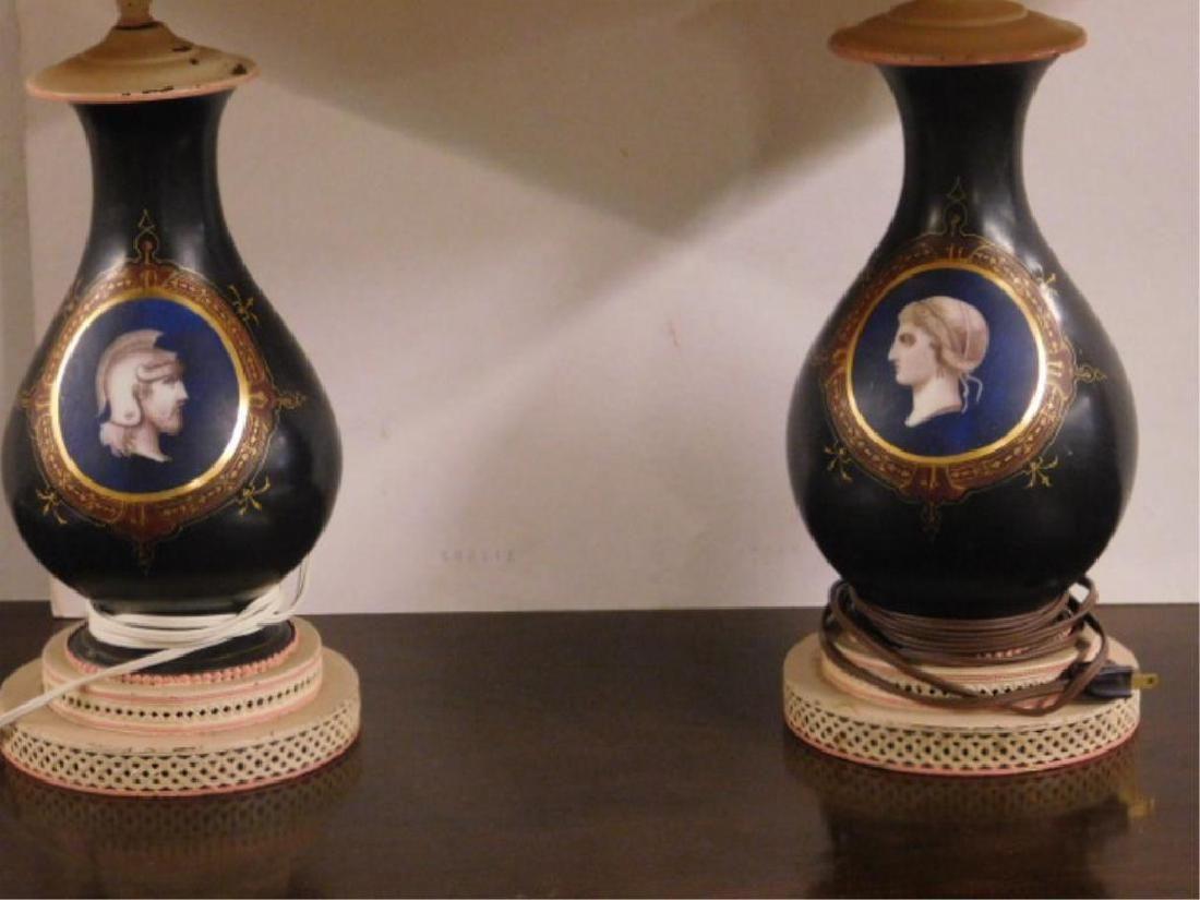 Pr Old Paris Porcelain Vase / Lamps