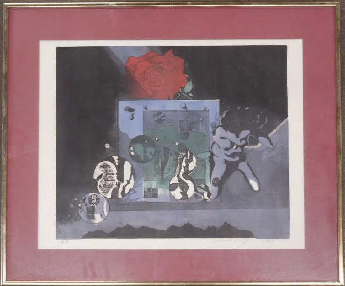 Illegibly Signed & Dated Lithograph