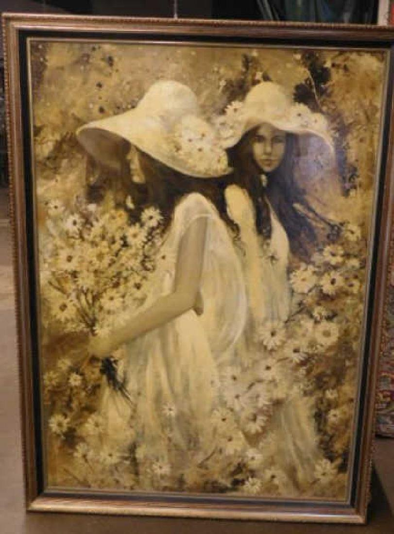 G. Shelly o/c, 2 Girls w/ Bonnets & Flowers