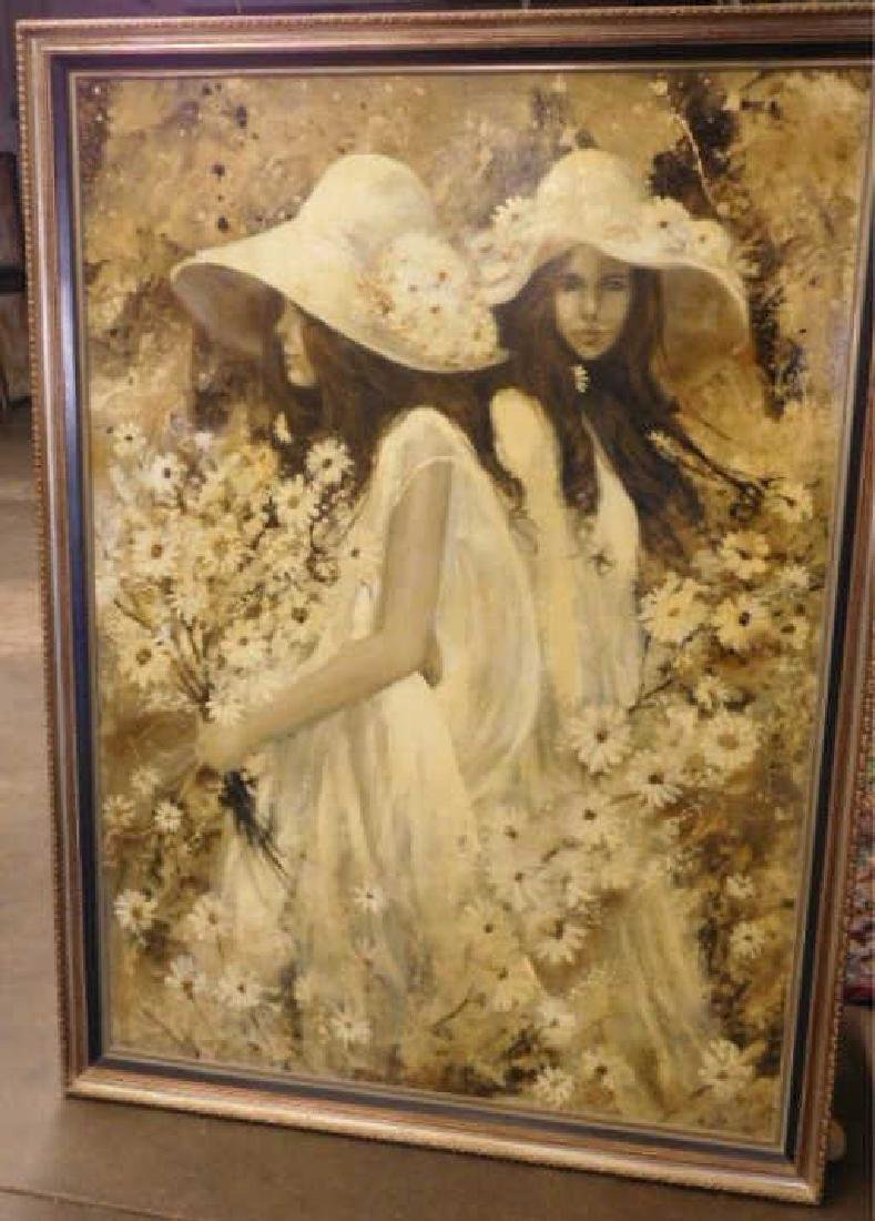G. Shelly o/c, 2 Girls w/ Bonnets & Flowers - 2