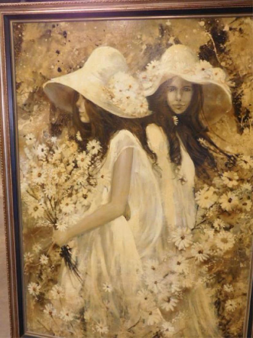 G. Shelly o/c, 2 Girls w/ Bonnets & Flowers - 3