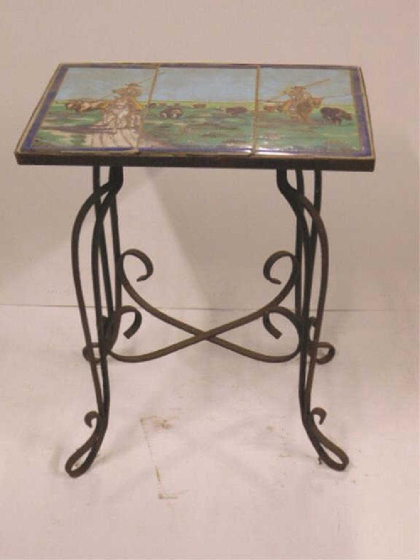 Pictorial Tile Garden Table