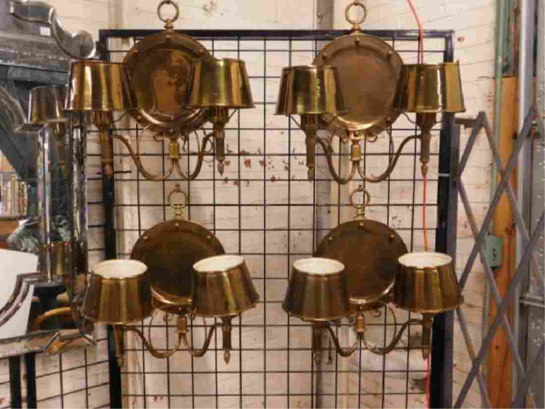 6 Brass Plate Back Wall Sconces