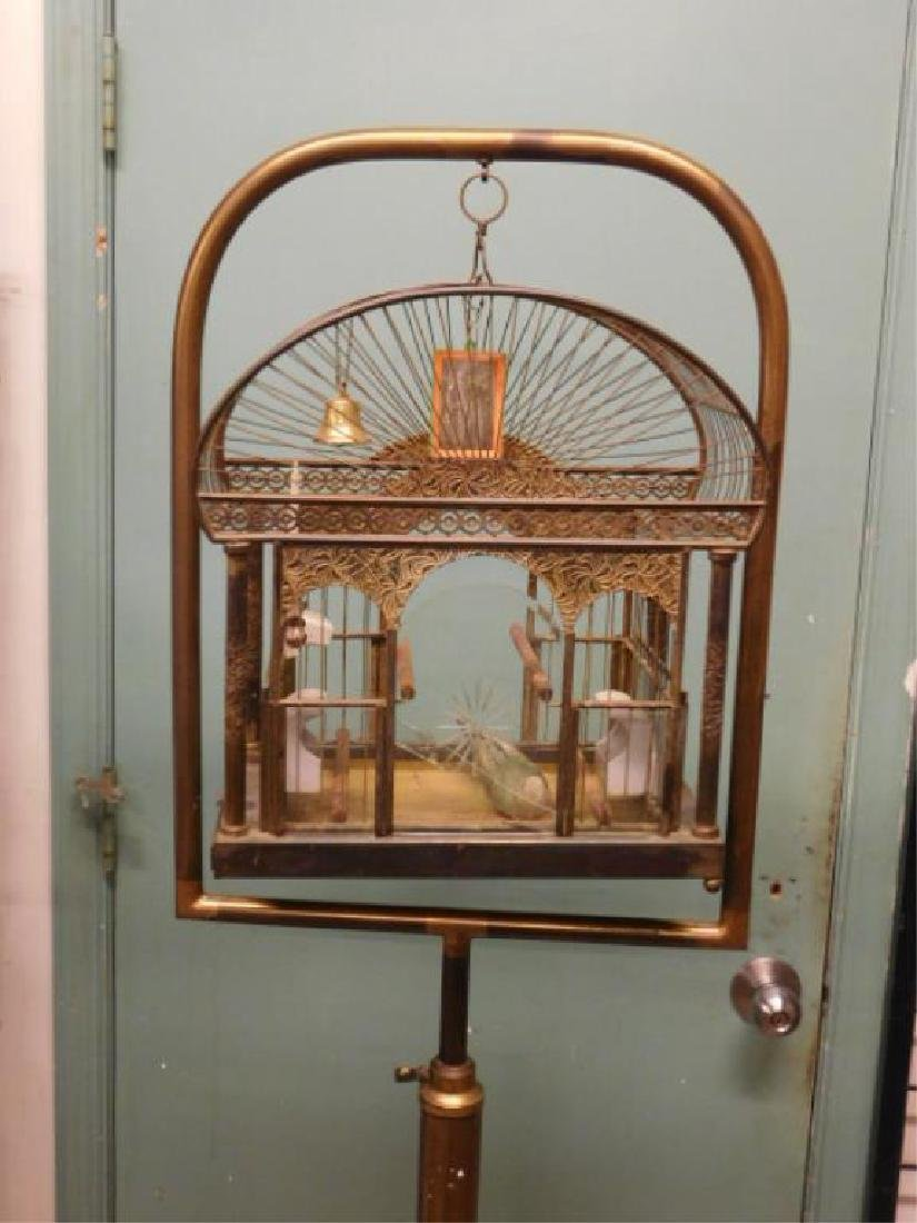 Brass Bird Cage on Stand - 2