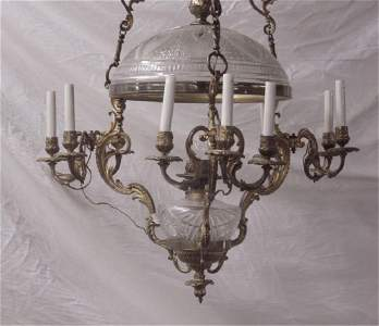 Fine Victorian Bronze / Cut Glass Oil Chandelier