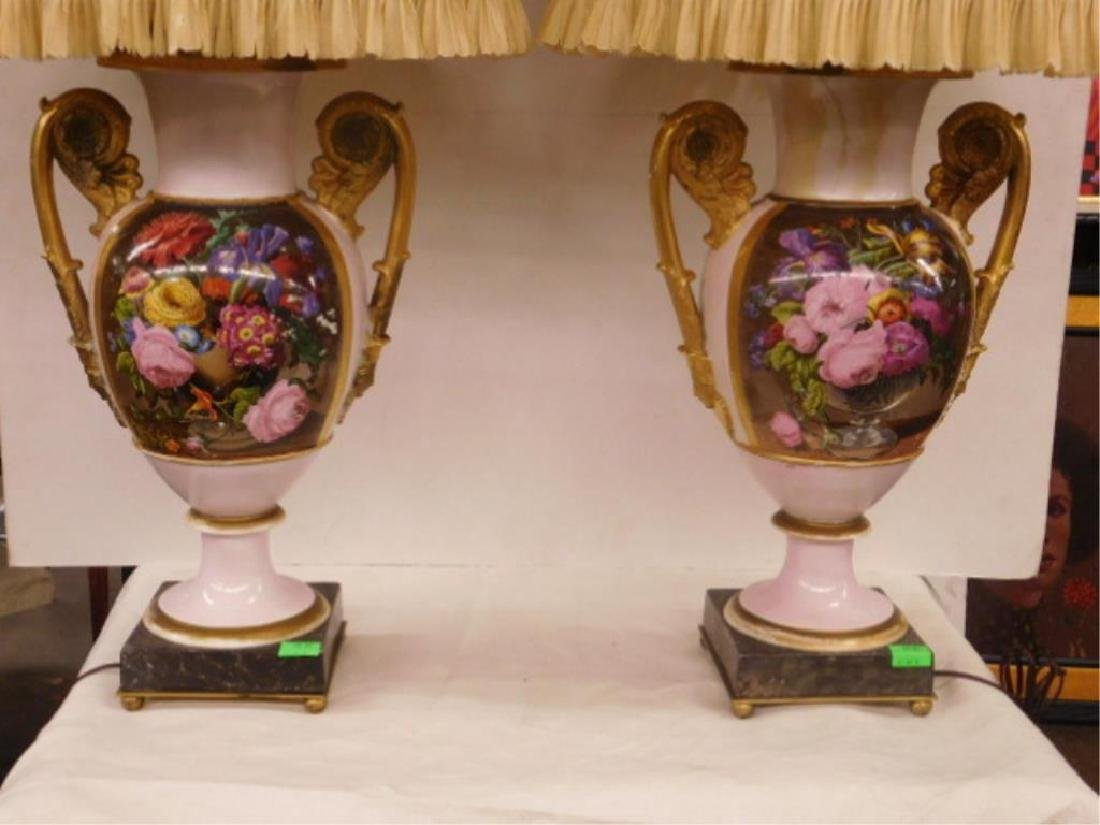Pr Old Paris Porcelain Urns / Lamps