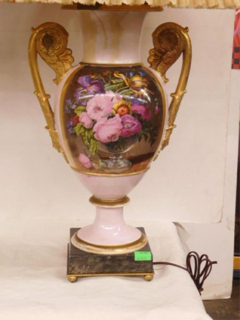 Pr Old Paris Porcelain Urns / Lamps - 2