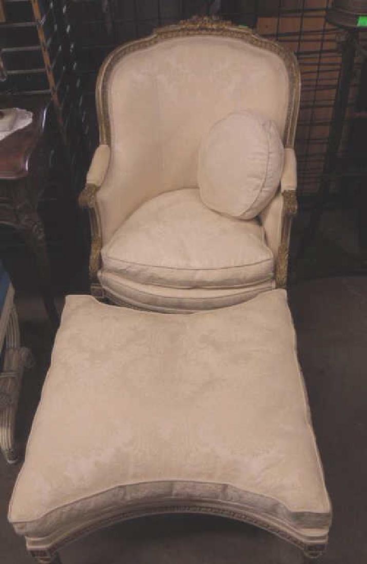 Louis XVI Style Arm Chair & Ottoman