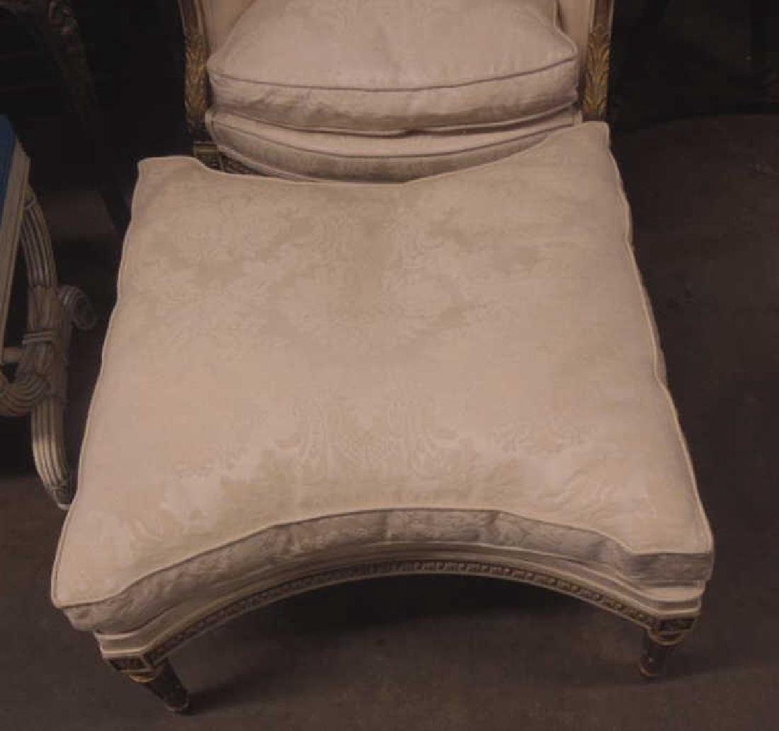 Louis XVI Style Arm Chair & Ottoman - 2