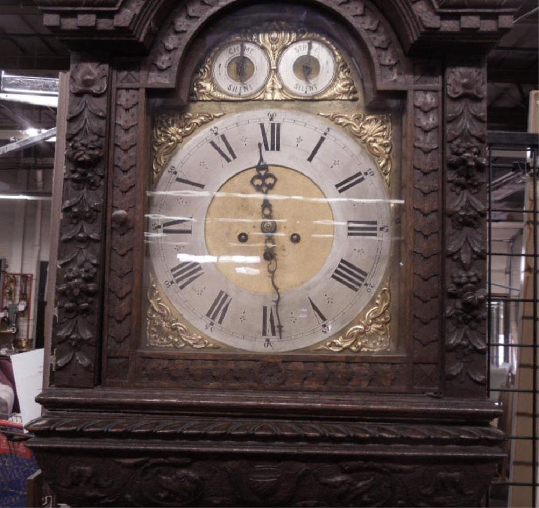 Continental Tall Case Jacobean-Style Clock - 3