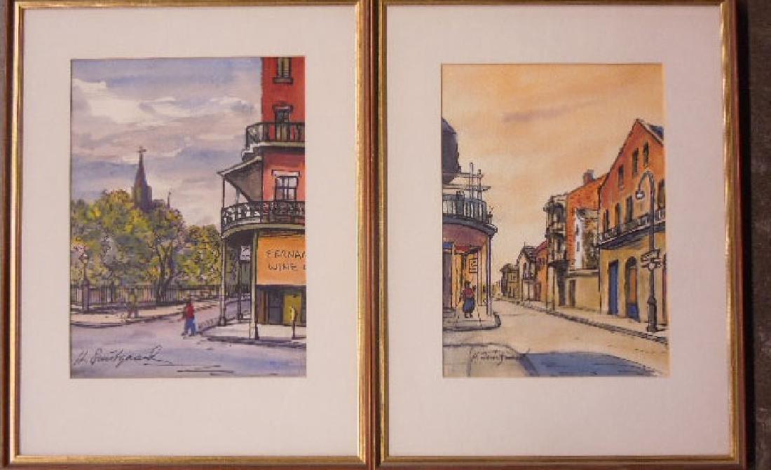 Pair Harold Quistgaard Signed Watercolors