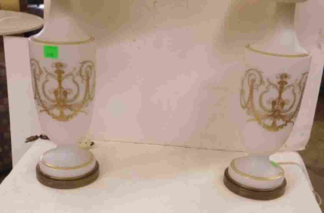 Pr Bristol Glass Table Lamps
