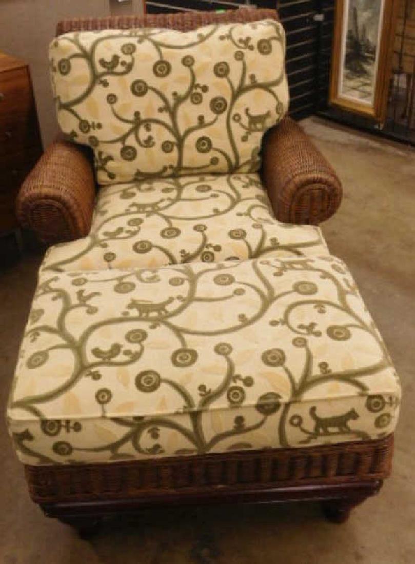 Contemporary Wicker Arm Chair & Ottoman