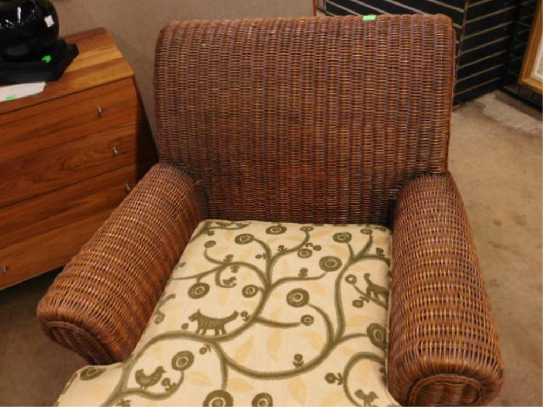 Contemporary Wicker Arm Chair & Ottoman - 3