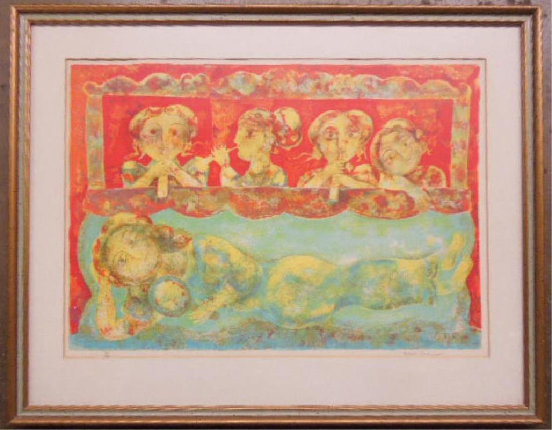 Sakti Burman Signed Colored Lithograph