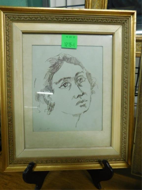 [3] Wm Barnett, Drawing, Studies of Female Heads - 2