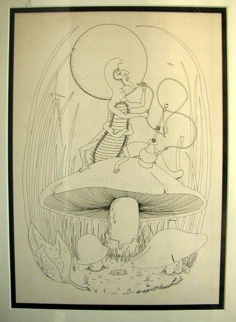 1005: Alice In Wonderland Pen & Ink Drawing