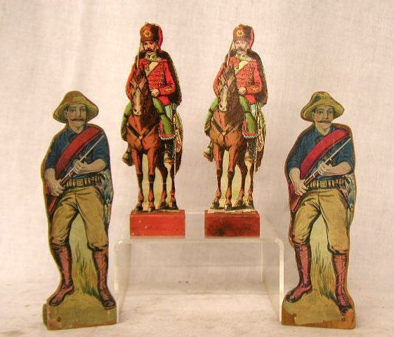 1112: 1920's Lithograph & Wood Soldier Figures