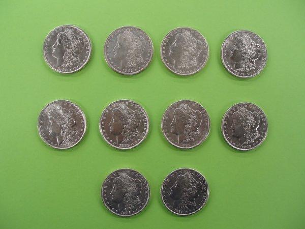 2018: 10 unc. Morgan silver dollars
