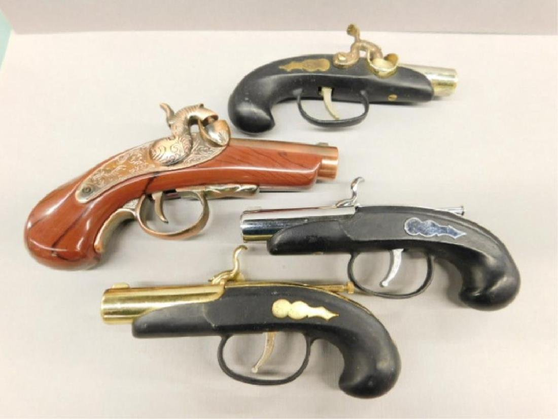 4 Vintage Gun Form Cigarette Lighters