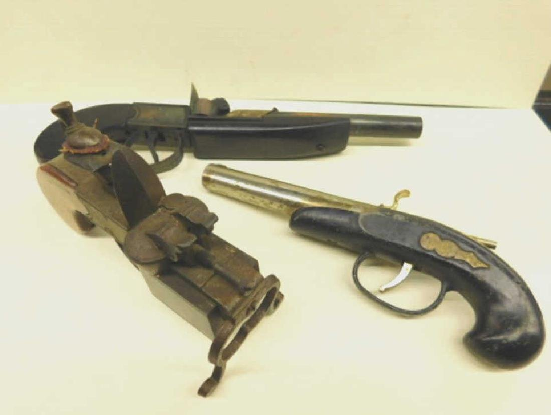 3 Vintage Gun Form Cigarette Lighter