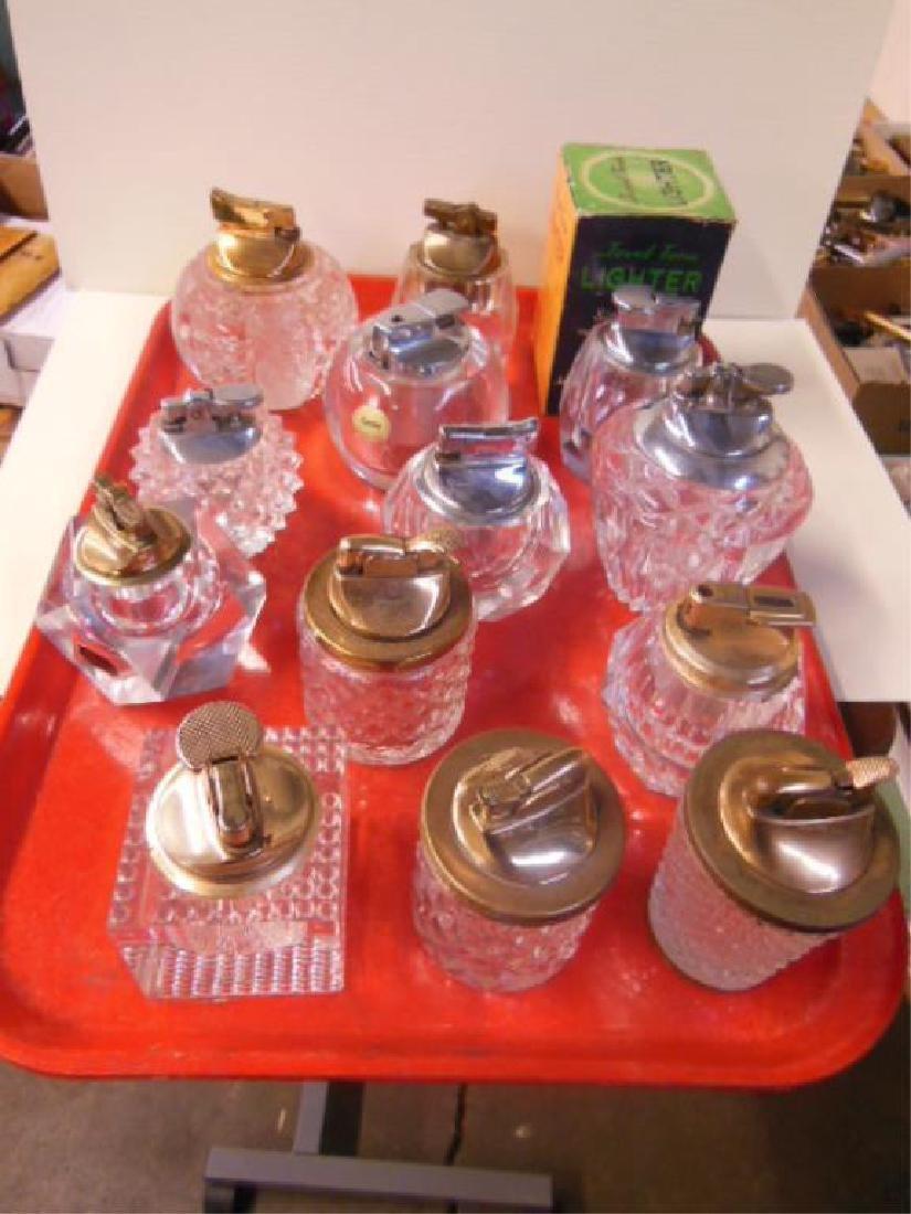 13 Vintage Glass & Crystal Table Lighters