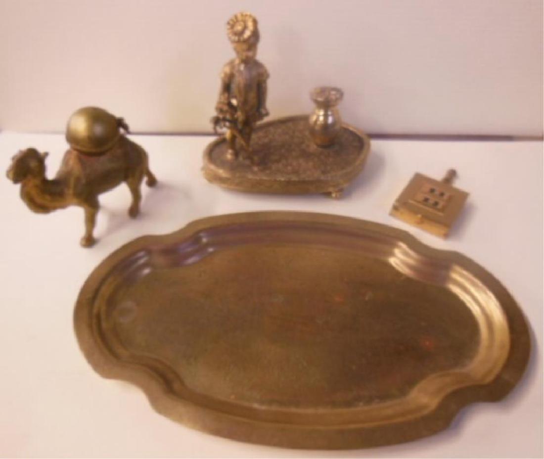 Vintage Brass Figural Lighter & Trays