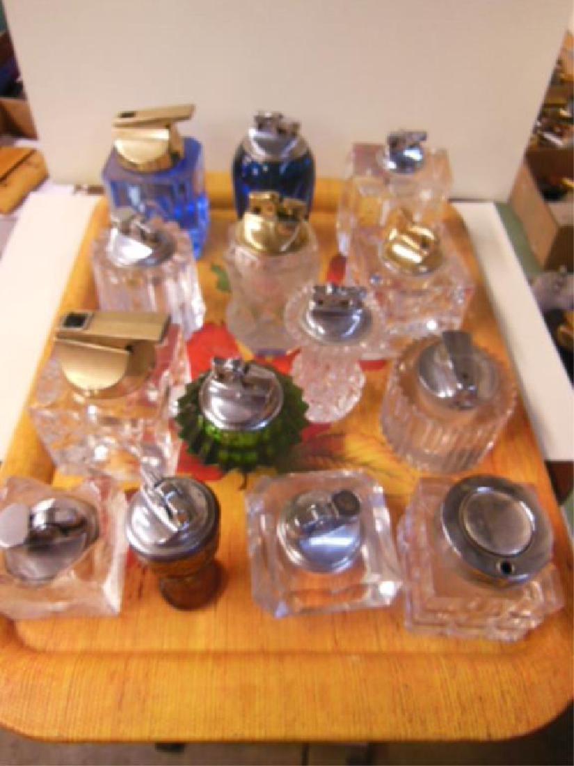 14 Vintage Glass Base Table Lighters