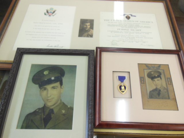 Framed Purple Heart Medal, Army Photos and Certificates