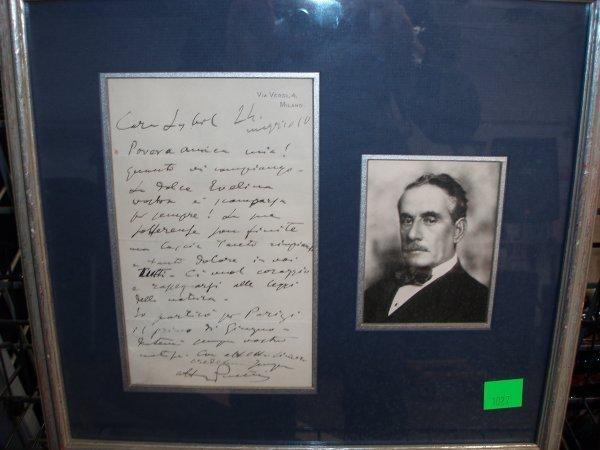1027: Giacomo Puccini Hand Written Letter