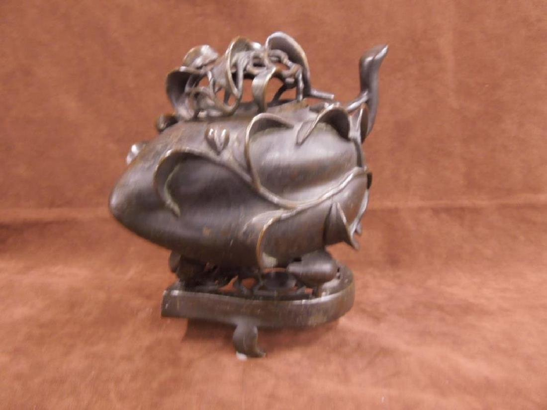 Chinese Bronze Incense Burner on Trivet