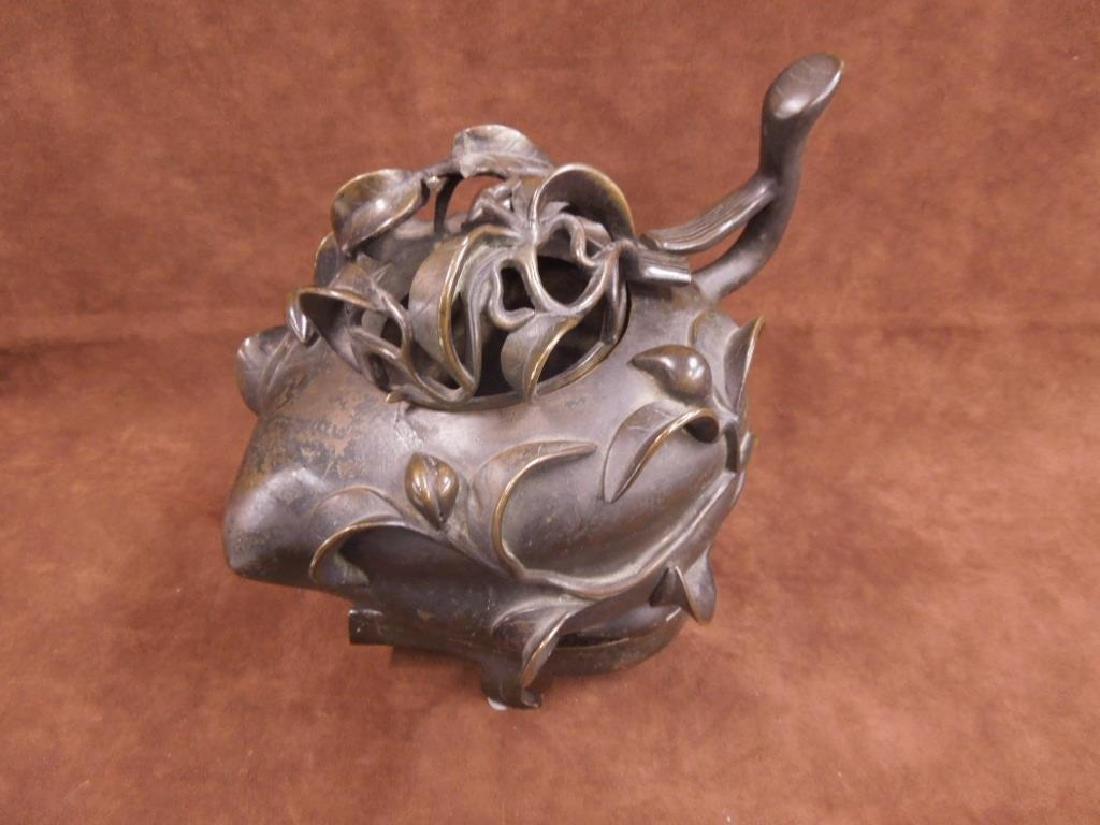 Chinese Bronze Incense Burner on Trivet - 2