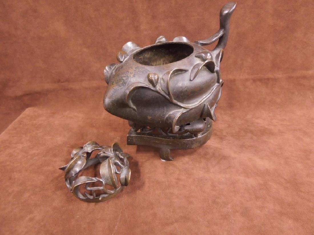 Chinese Bronze Incense Burner on Trivet - 3