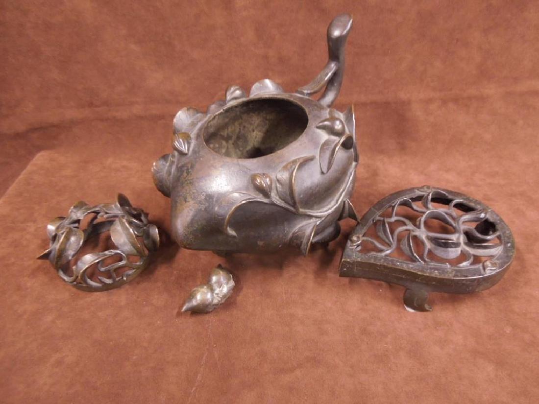 Chinese Bronze Incense Burner on Trivet - 4