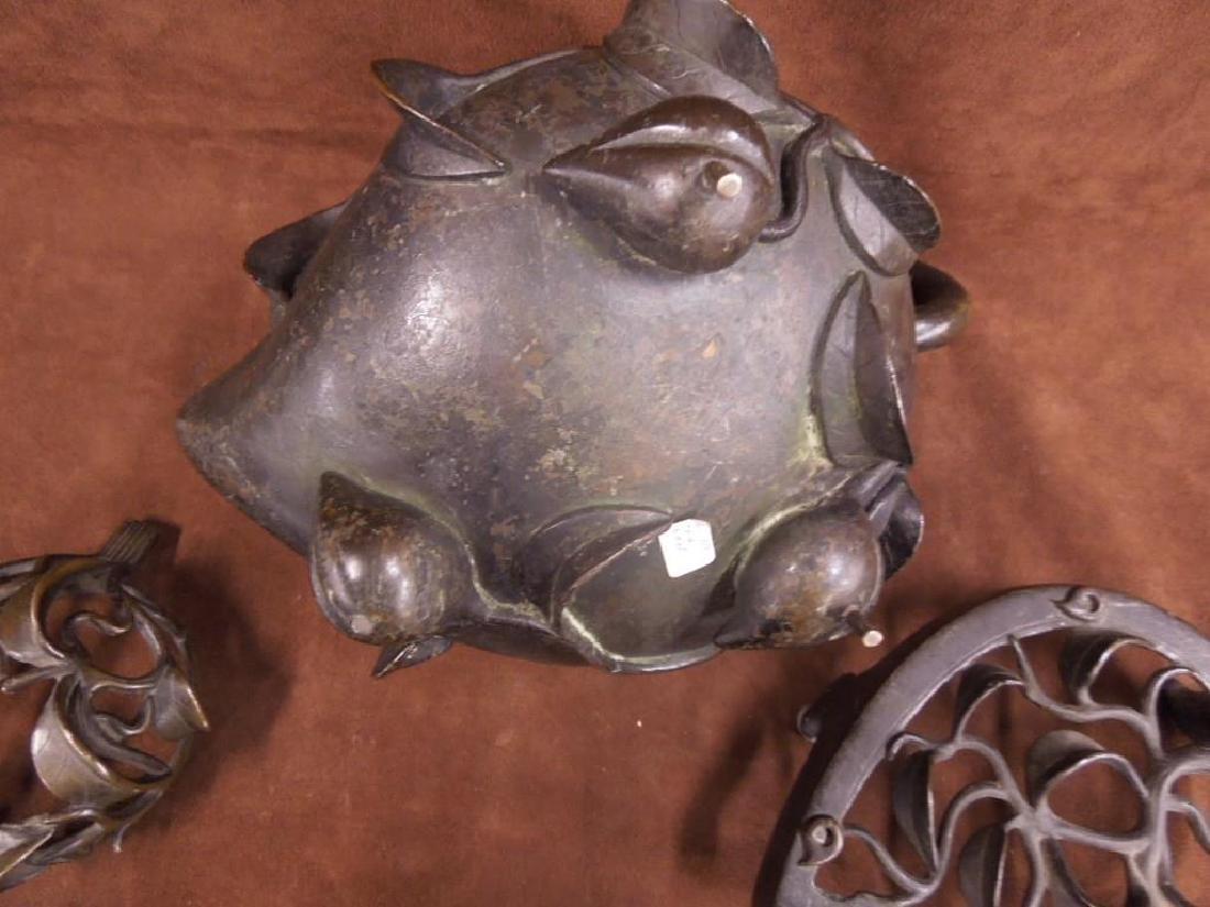 Chinese Bronze Incense Burner on Trivet - 6