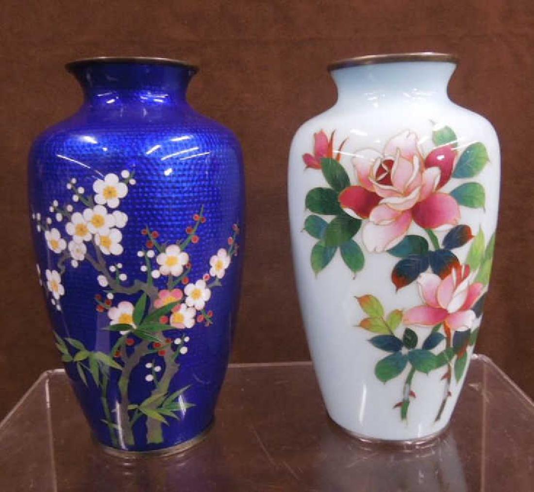 2 Japanese Cloisonne Vases