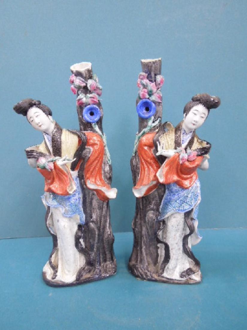 Pr Chinese Famille Rose Figural Vases
