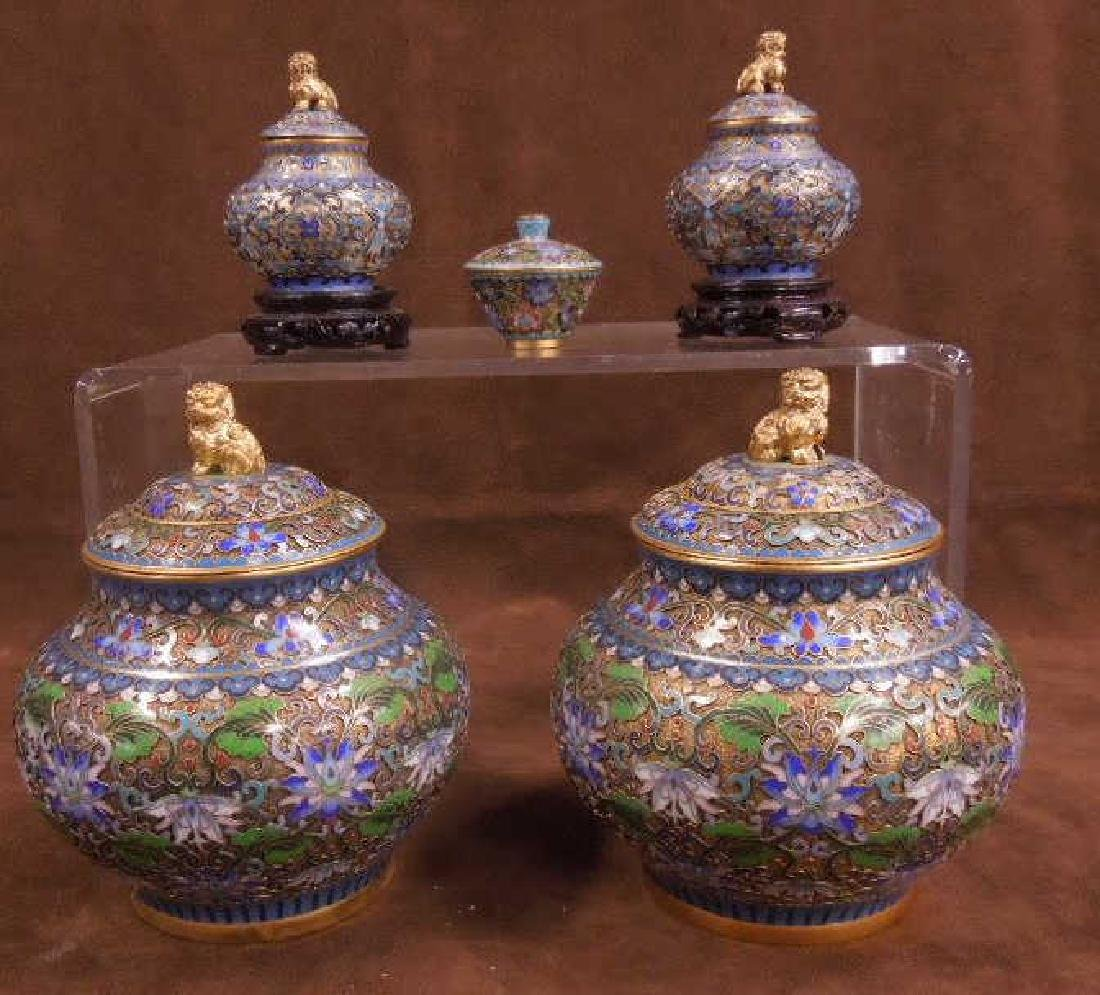 5 Chinese Cloisonne Covered Jars