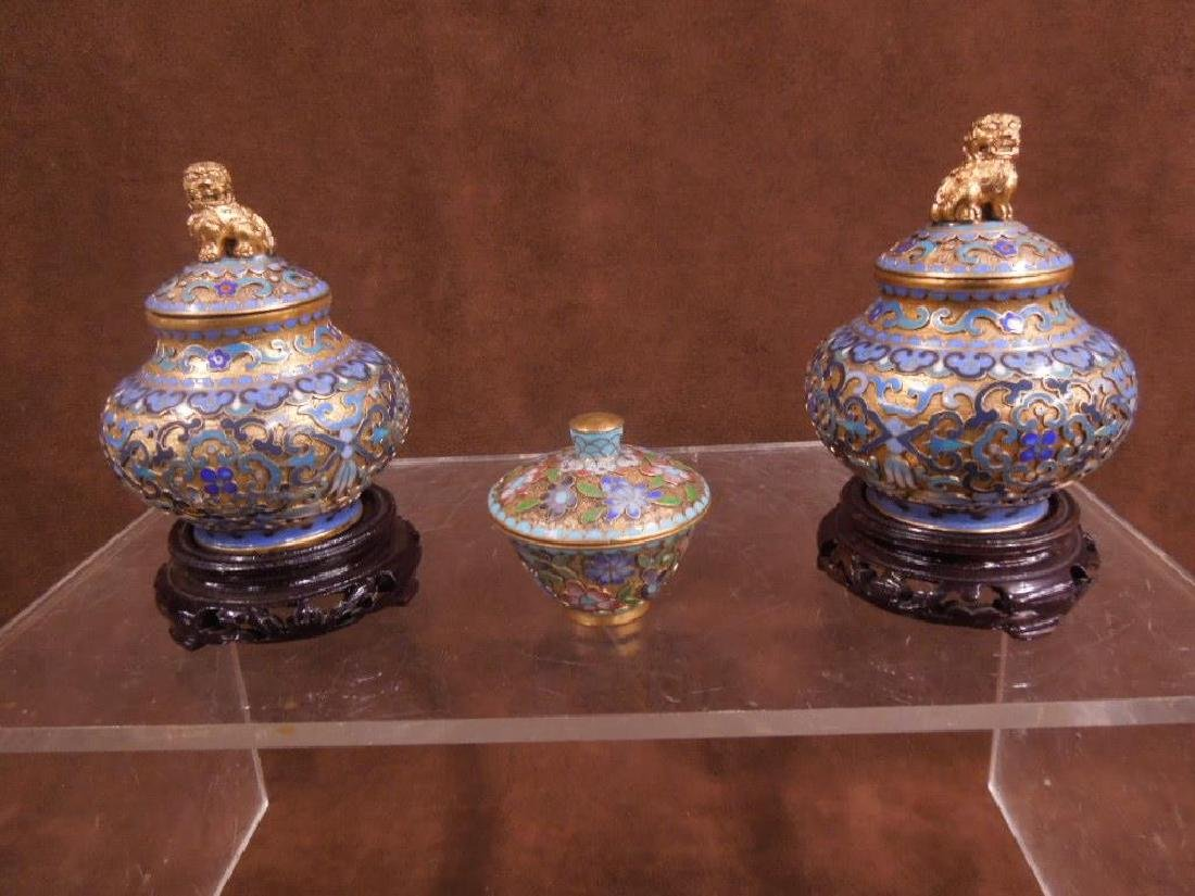 5 Chinese Cloisonne Covered Jars - 2