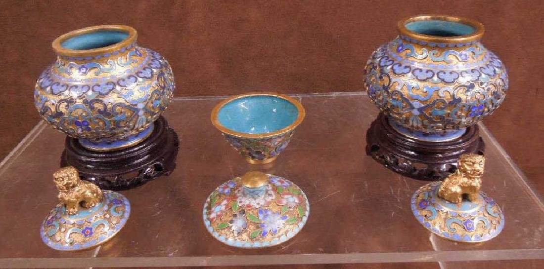 5 Chinese Cloisonne Covered Jars - 3