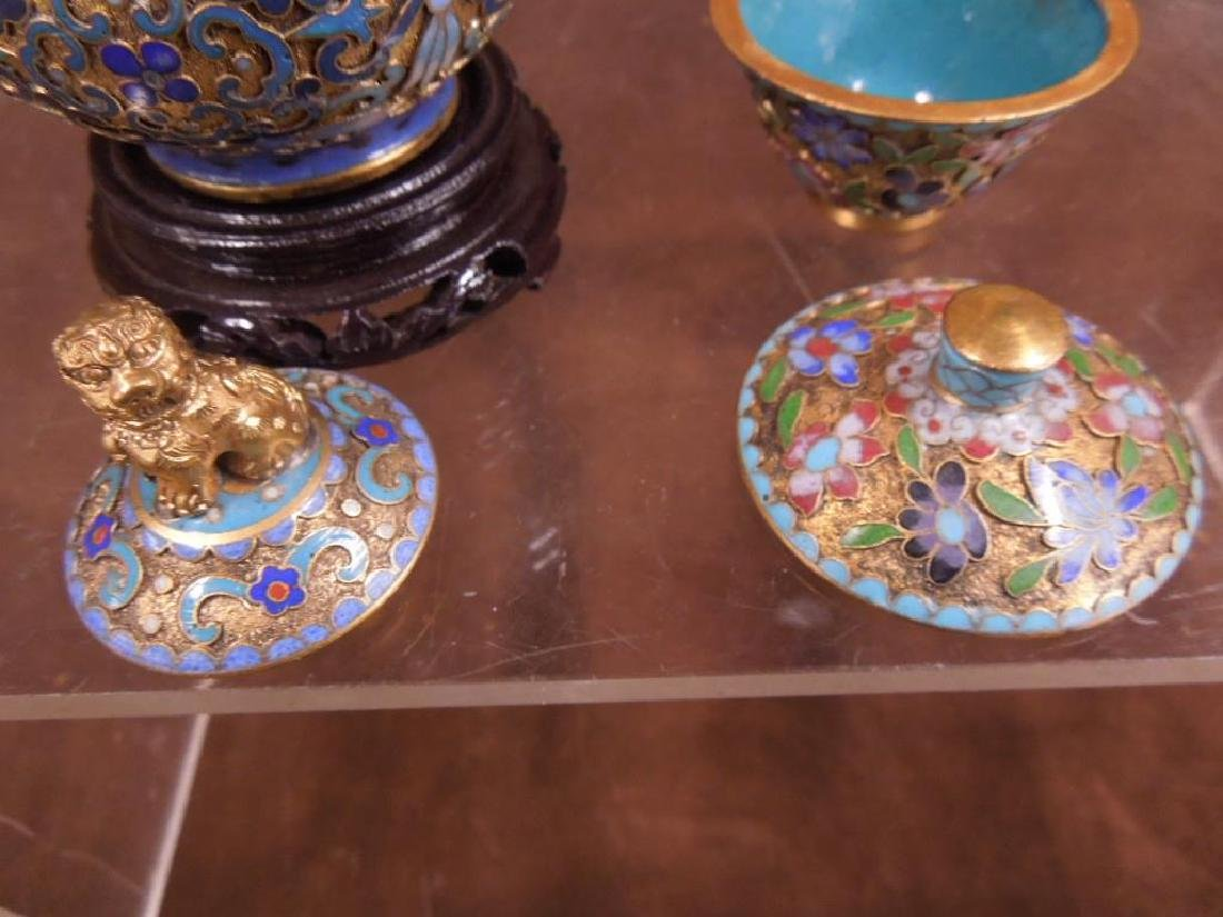 5 Chinese Cloisonne Covered Jars - 4