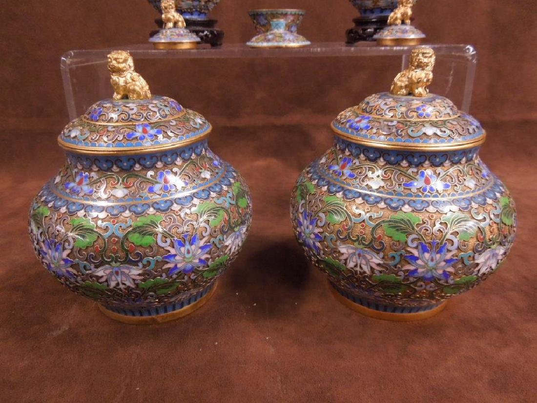 5 Chinese Cloisonne Covered Jars - 5