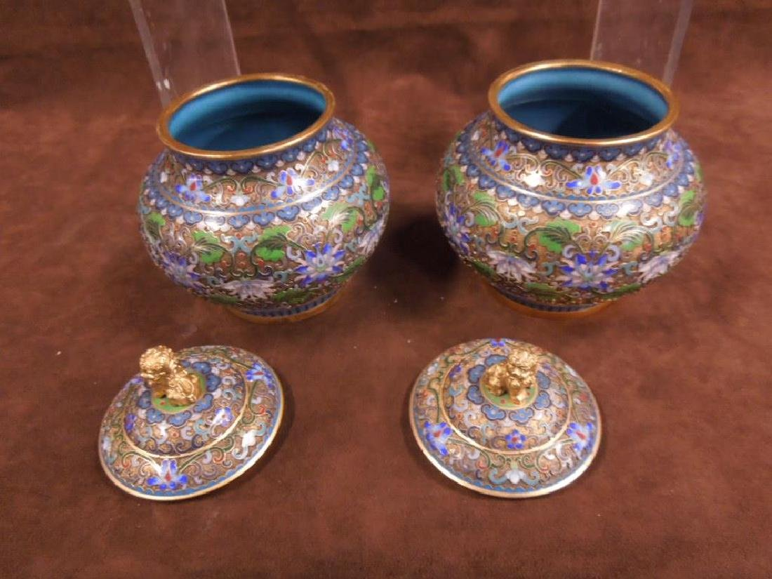 5 Chinese Cloisonne Covered Jars - 6