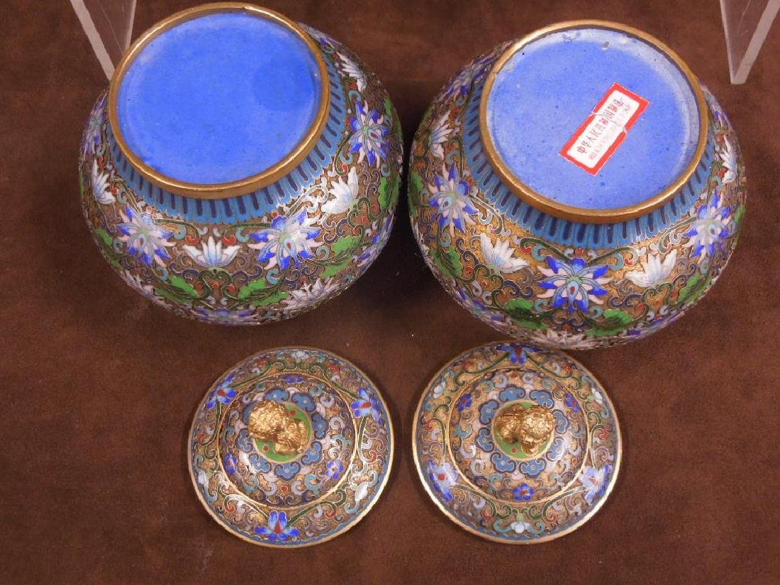 5 Chinese Cloisonne Covered Jars - 7