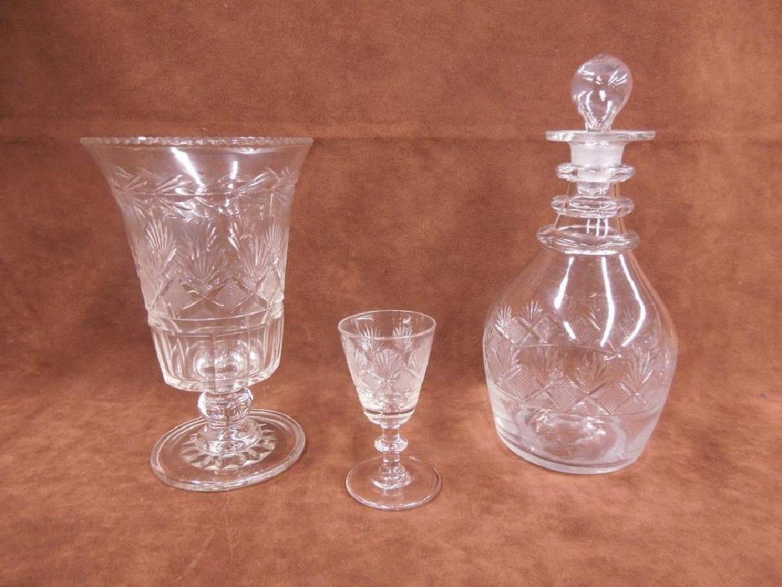Flint Glass Decanter, Vase & Goblet
