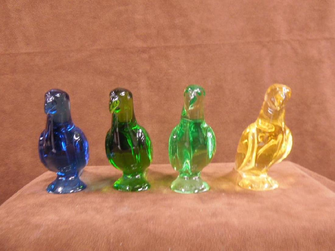 4 Baccarat Colored Crystal Parrot Figures