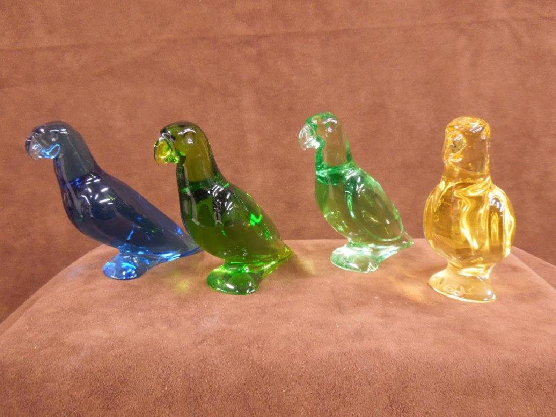4 Baccarat Colored Crystal Parrot Figures - 2