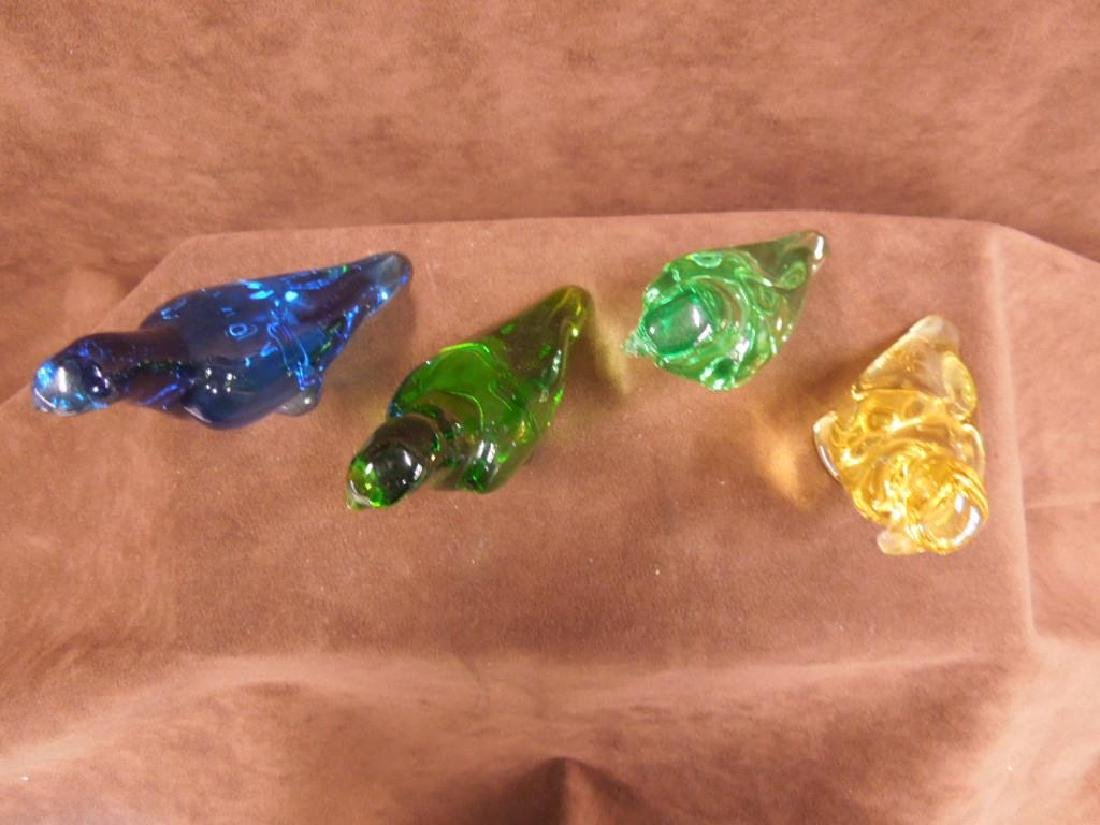 4 Baccarat Colored Crystal Parrot Figures - 3
