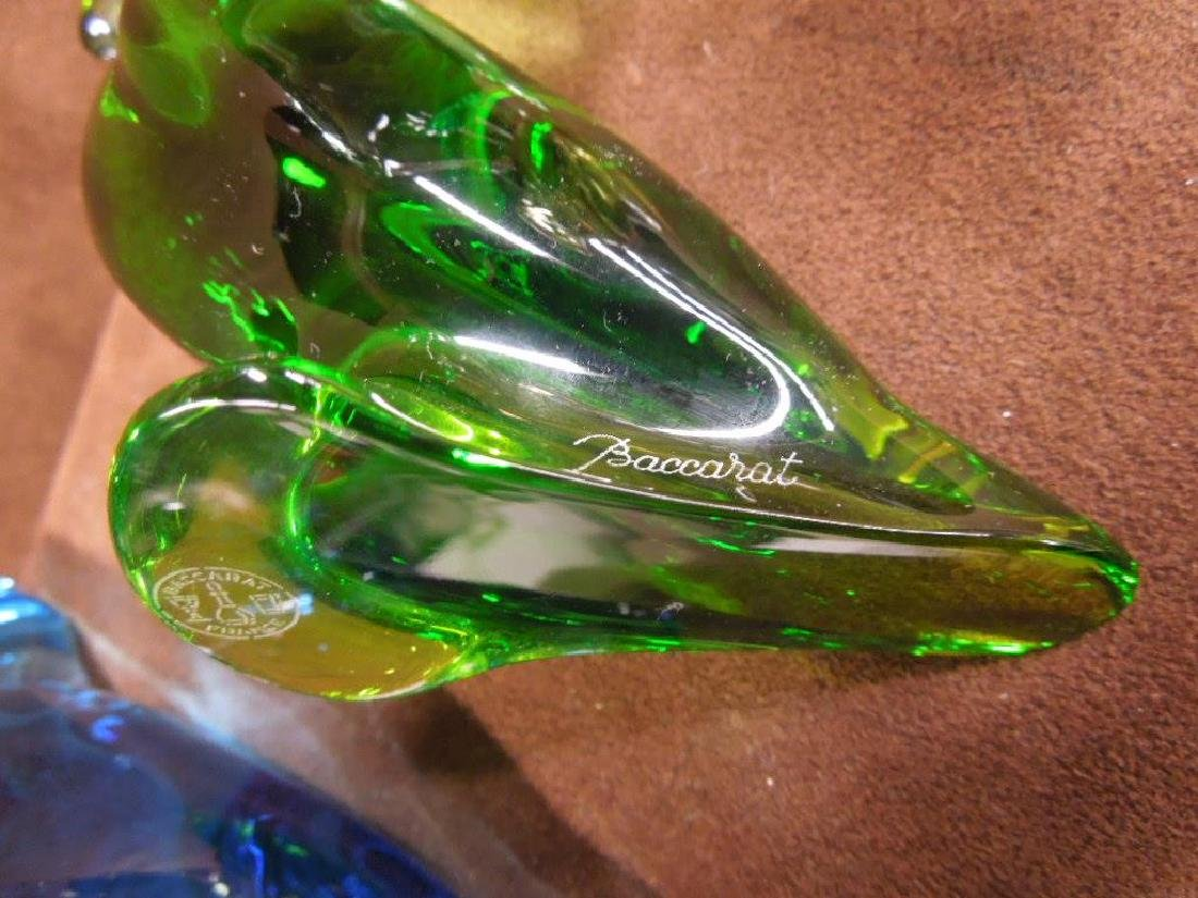 4 Baccarat Colored Crystal Parrot Figures - 5