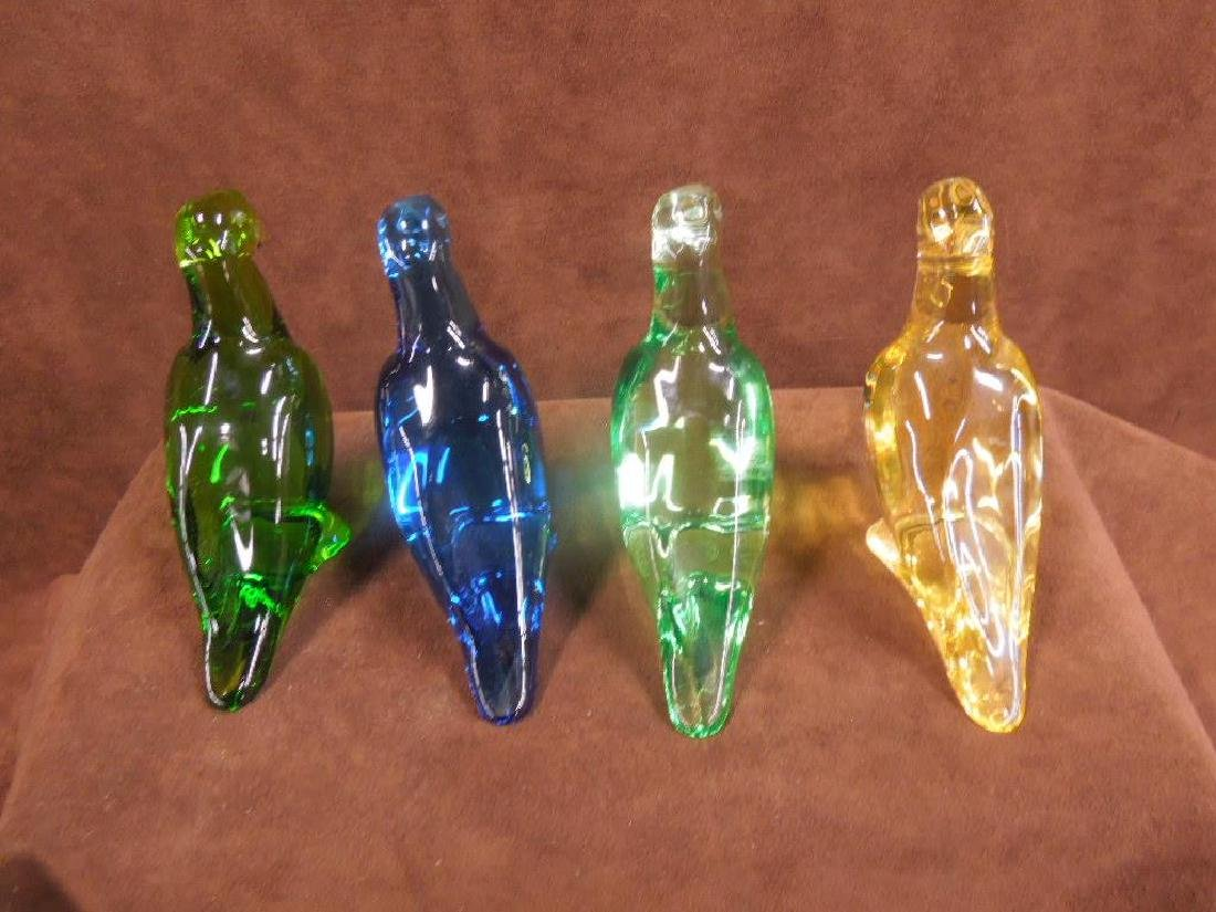 4 Baccarat Colored Crystal Parrot Figures - 8